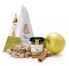 Salsa dolça de daus de poma Golden caramelitzada amb festucs tendres de Turquía i canella de Sri Lanka